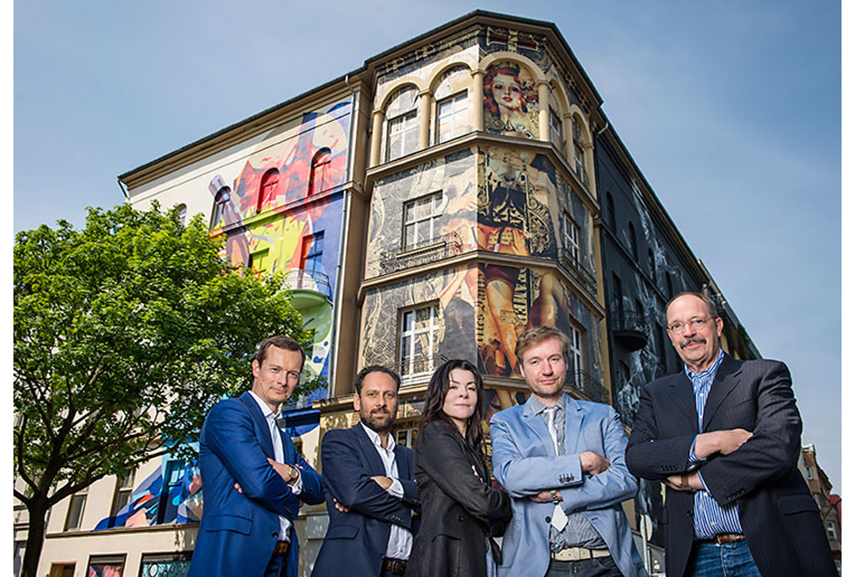 Team behind Urban Nation Museum of Urban Contemporary Art in Berlin. Photo © Nika Kramer