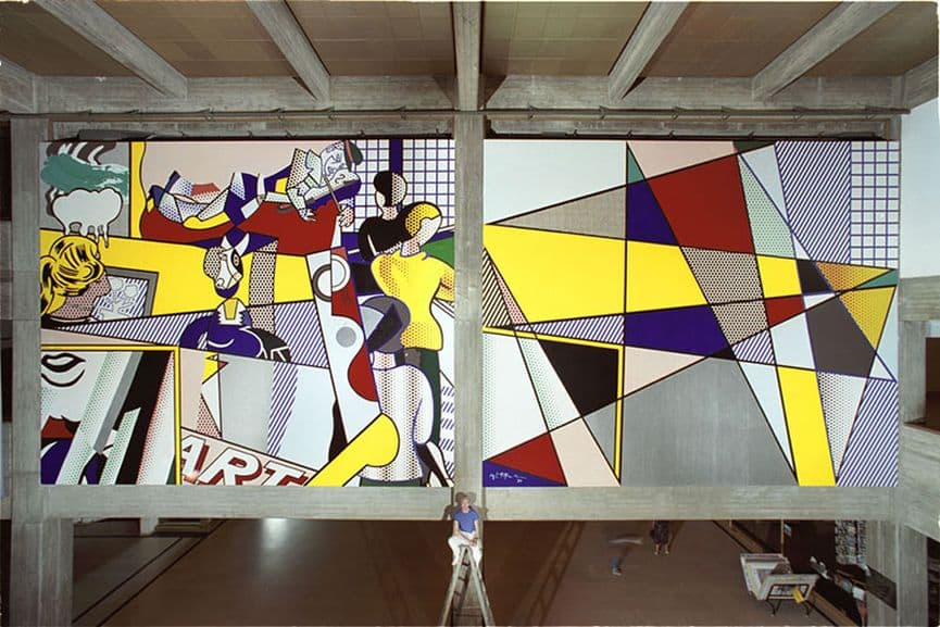 roy Lichtenstein - Tel Aviv Museum of Art Mural, 1989; roy lichtenstein piece exploring the life and history of art through paintings