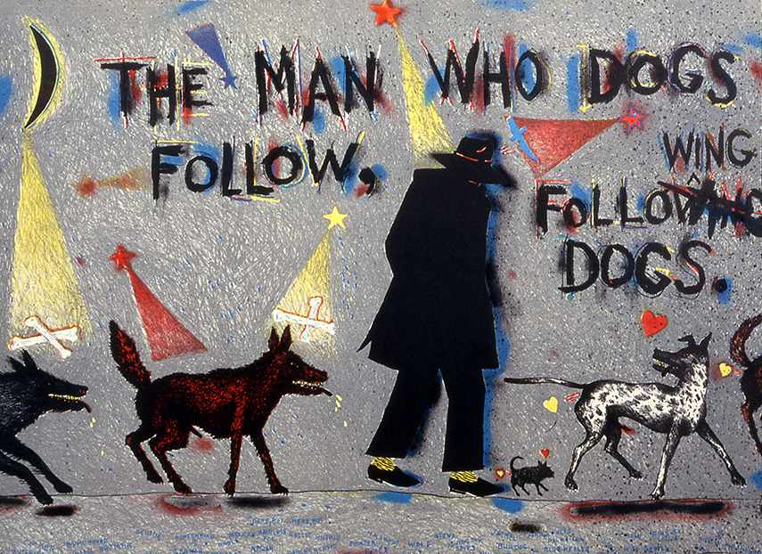Terry Allen -The Man Who Dogs Follow Following Dogs, 1983 - image via moodygallery.com