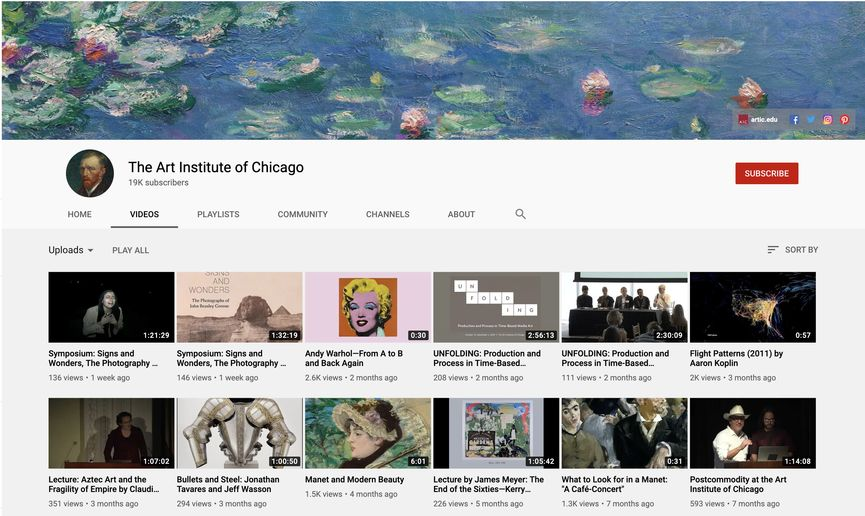 The Art Institute of Chicago YouTube Channel video content