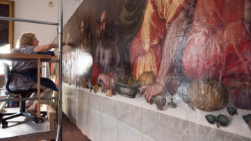 The Last Supper by Plautilla Nelli during restoration by Rosella Lari Restorer