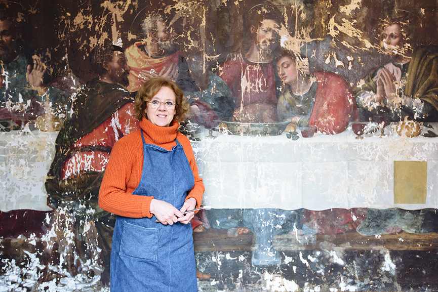 The Last Supper with Restorer Rosella Lari