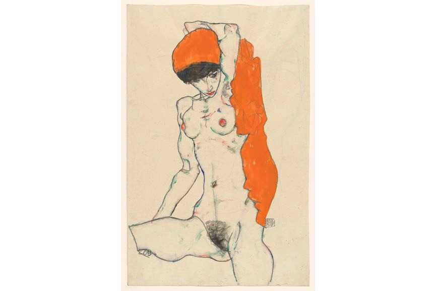 Standing Nude with Orange Drapery, 1914