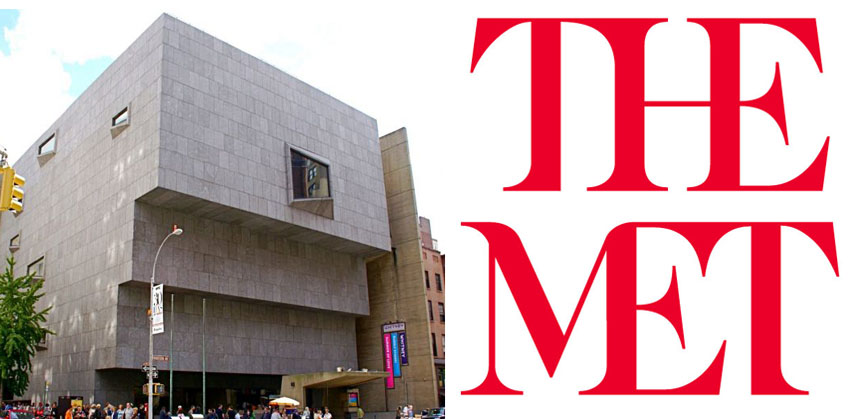 Left: The building of The Met Breuer, former home to the Whitney Museum. Image via Flickr/saitowitz / Right: The Met's new logo, which caused controversy among designers. Image via The Met