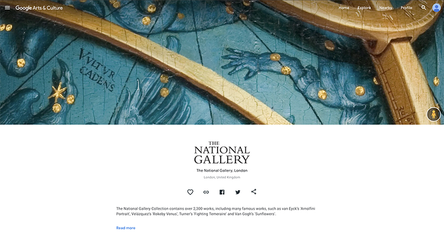 Explore The National Gallery London Google Arts & Culture profile