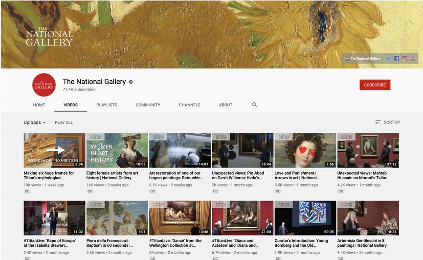 The National Gallery London YouTube Channel video content