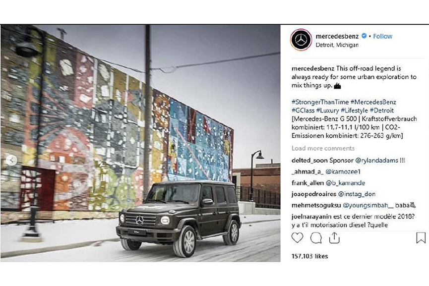 The Now-Deleted Mercedes Benz Instagram Post Featuring The Mural