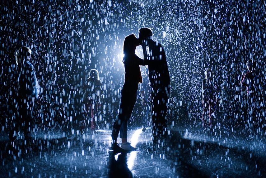 The Rain Room at LACMA. photo and video of a woman breaking artworks at an exhibit - search, read and post world news here