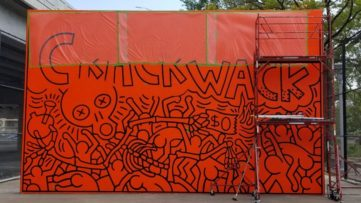 The Restoration Process of Crack is Wack in New York City, 2019, with the support of the Keith Haring Foundation, a mural celebrating life
