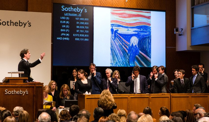 Photo of the Sotheby's auction taking place - auctions are the place where the value of art is determined