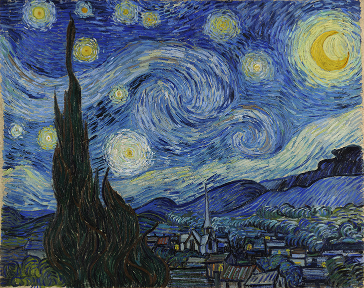 Who painted Starry Night painting by Vincent Van Gogh, 1889