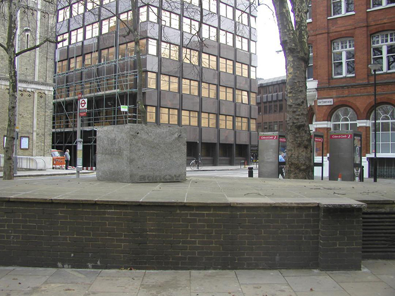 The original site of Banksy's The Drinker near Shaftesbury Avenue, London