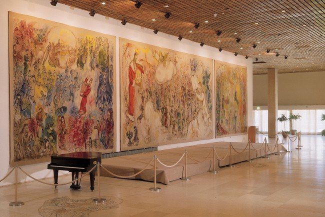 The three Chagall tapestries lining the wall of the Chagall State Hall in Knesset, (Parliament) building in Jerusalem, photo credits - Knesset