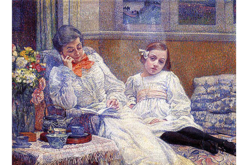 Pointillist painting by Theo Van Rysselberghe - Femme et Enfant is an example of use of paint in his works