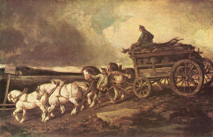 Coal cars is a painting made by Theodore Gericault that perfectly illustrates how the French artist's mature style looked like