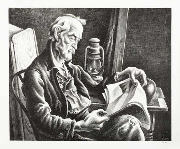 Thomas Hart Benton-Old Man Reading-1941