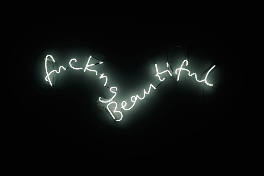 Tim Noble & Sue Webster - fuckingbeautiful (detail, white version), 2013