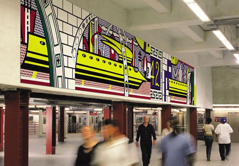 roy Lichtenstein - Times Square Mural, 1990; the piece by the artist roy lichtenstein overseeing the busy life of the underground