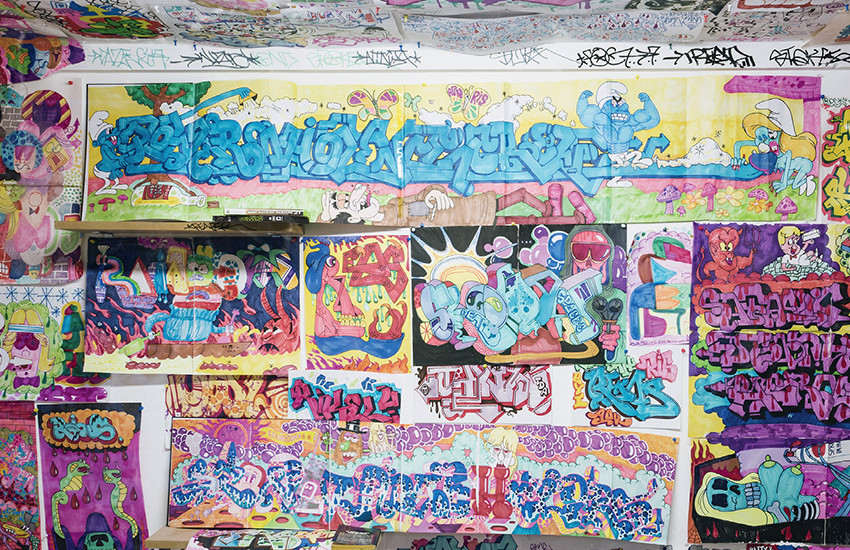 Todd James - Vandal's Bedroom (detail), recreated for The Bridges of Graffiti exhibition, 2013, bary mcgee gallery in copenhagen in 2014