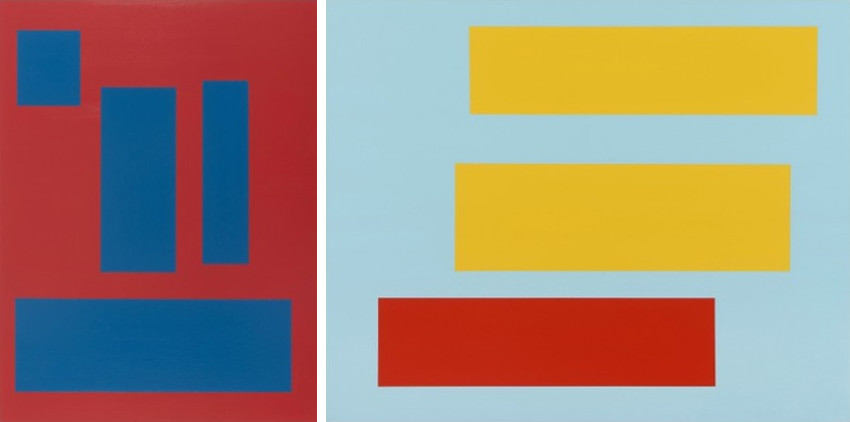 Tom McGlynn - Station, 2012 - Decal (two yellow bars over red on blue), 2014