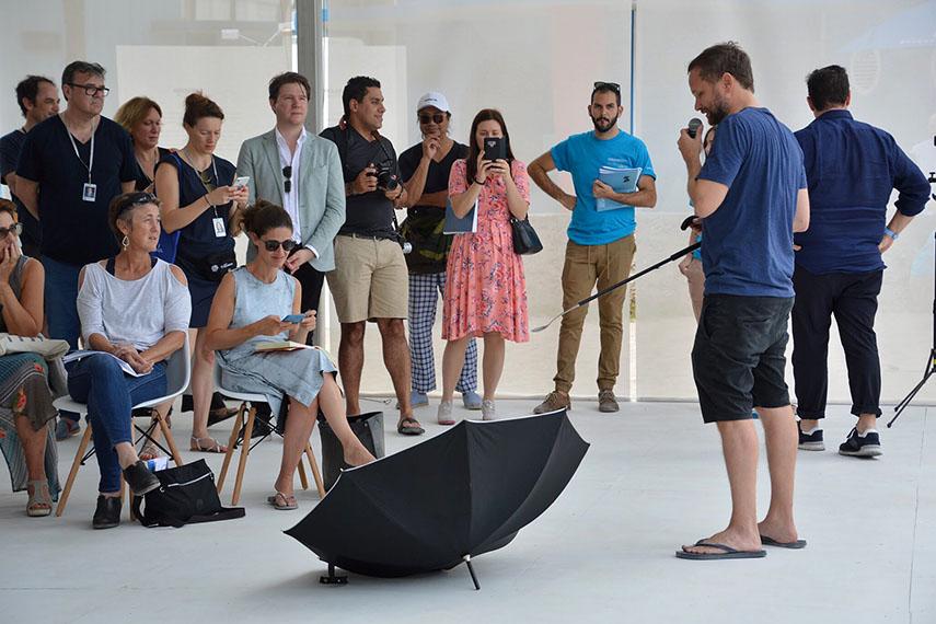 Tomas Saraceno explains how the inverted umbrella can generate solar power