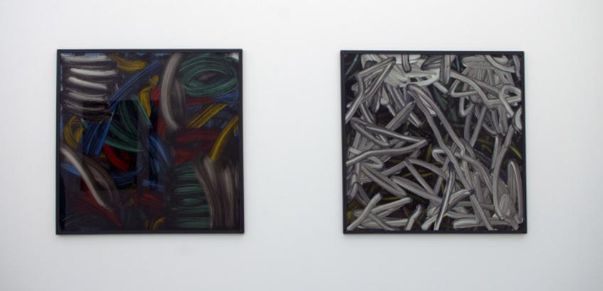Tomek - Suite A L' Eponge (Left) / Gris de Meudon (Right) - abstract paintings on glass