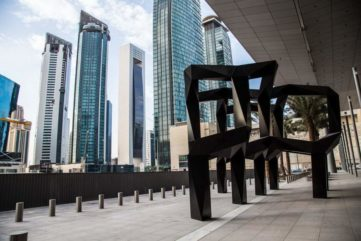 The minimalist installation of Tony Smith titled Smoke was bought by qatar museums in 2010