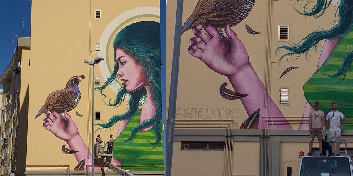 Truly Design, Mauro149 and Rems182 infront of Lucia, Street Art Mazzarona Festival in Syracuse, Italy