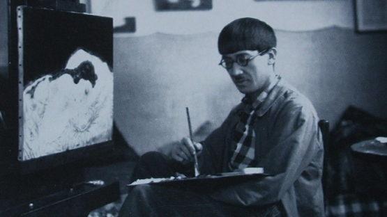 Tsuguharu Foujita in his studio