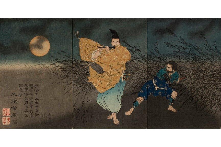 Tsukioka Yoshitoshi - The Heian Poet Yasumasa Playing the Flute