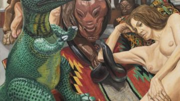 Philip Pearlstein - Two Models, Rooster Weathervane, Luna Park Lion and Blow-up Dinosaur, 2016 (detail)