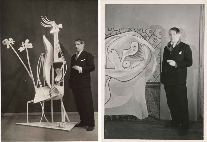 Two photos of Pablo Picasso in front of his works