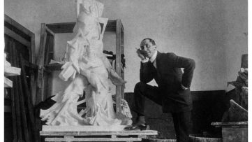 Umberto Boccioni posing next to Synthesis