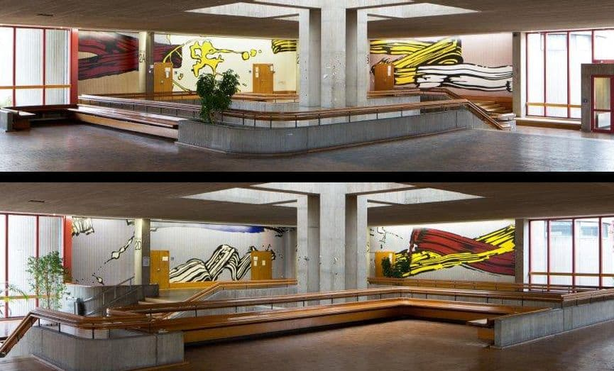 Roy Lichtenstein - University of Dusseldorf Brushstroke Mural, 1970; the roy lichtenstein foundation; a continuation of the work lichtenstein started exploring in 1963 paintings at tate