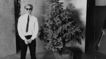 Andy Warhol and his Christmas tree in the Factory, 1964
