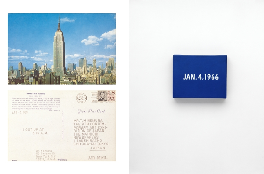"Left: On Kawara, APR – 1 1969, From I Got Up, 1968–79, Stamped ink on postcard. MTM Collection, Japan / Right: On Kawara, JAN. 4, 1966, ""New York's traffic strike."", New York From Today, 1966–2013, Acrylic on canvas. Private collection, Photo: Courtesy David Zwirner, New York/London"