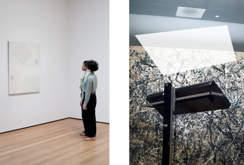 Left: Andrea Geyer, Lily, Niv and Agnes, 2013 / Right: Past Strangers (After Jackson Pollock) #9682, 2014
