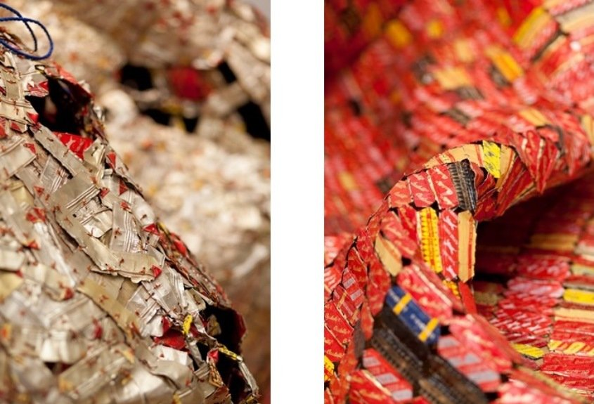 Left: El Anatsui, AG + BA (detail), 2014 / Right: El Anatsui, AG + BA (detail), 2014