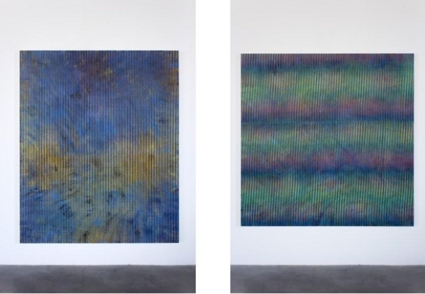 Left: Julie Oppermann, 1502, 2015 (acrylic on canvas, 68x56 inches) / Right: Julie Oppermann, 1506, 2015 (acrylic on wood panel, 60x60 inches)