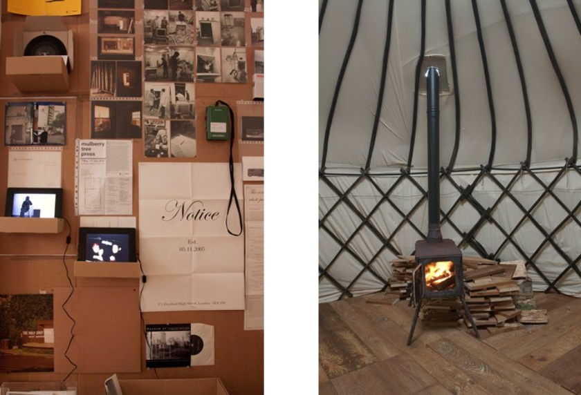 Left: Archive (detail) / Right: Barnaby Hosking, Habitat Installation (detail), 2014