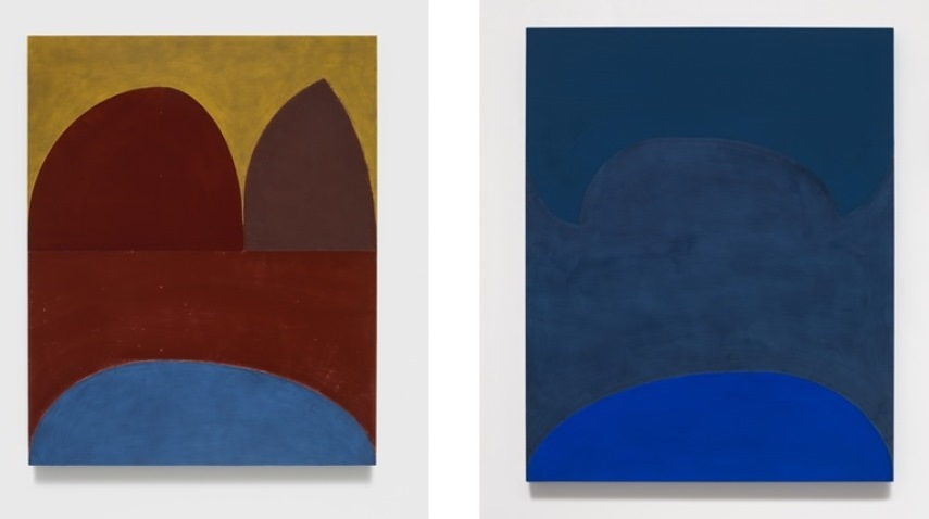 Left: Suzan Frecon, Dark red cathedral (tre), 2014, Oil on panel / Right: Suzan Frecon, Lapis ordering adjacent blues, 2014, Oil on panel