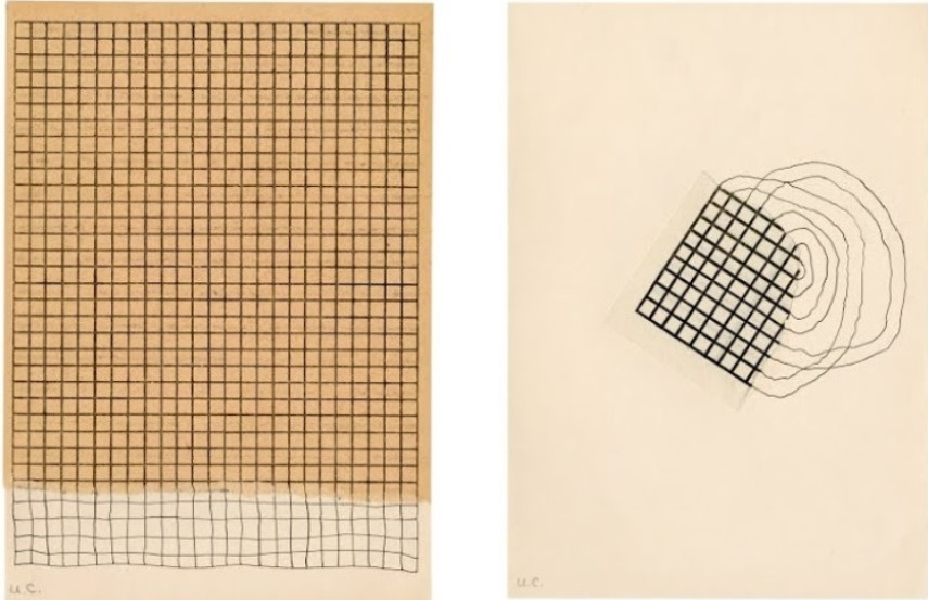 Left: Ulises Carrion - Margenes, collage and ink on paper, 1975 / Right: Ulises Carrion - S-T, collage and ink on paper, 1975