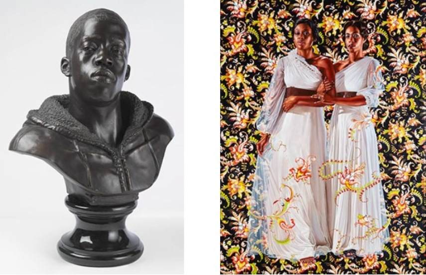 Left: 34 x 26 x 19 in. (86.4 x 66 x 48.3 cm). Brooklyn Museum; Frank L. Babbott Fund and A. Augustus Healy Fund, 2012.51. © Kehinde Wiley. (Photo: Sarah DeSantis, Brooklyn Museum) / Right: 96 x 72 in. (243.8 x 182.9 cm). Collection of Pamela K. and William A. Royall, Jr. © Kehinde Wiley. (Photo: Jason Wyche)