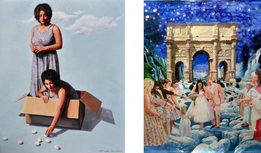 Left: Zahra Shafie - Desires of Adam, 2014, Oil on canvas, 185x150cm / Right: Adel Younesi - Untitled, 2015, Oil on canvas, 130x180cm