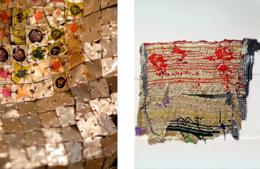 Left: El Anatsui, Skylines (Detail), 2008 / Right: El Anatsui, Testimonial, 2014