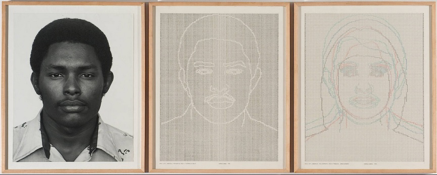 Triptych: 23x 19 in. each (framed); 23x 57 in. (overall framed). Collection of Marc Lee.