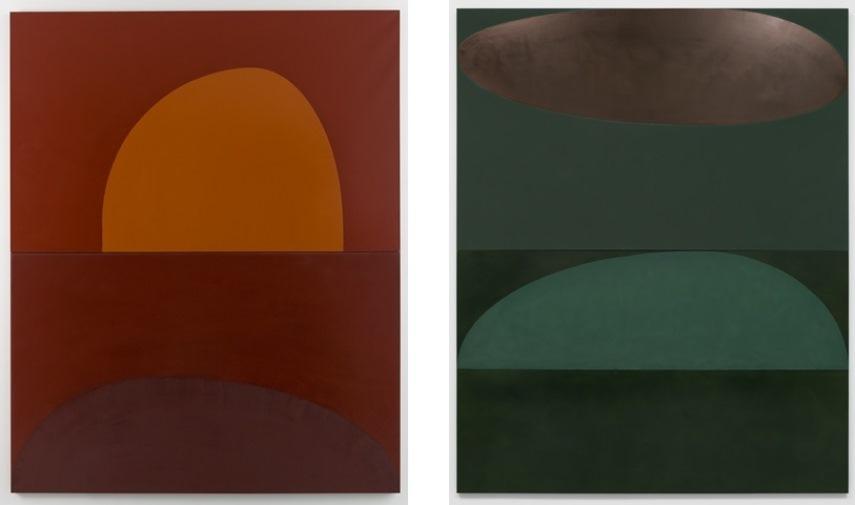 Left: Suzan Frecon, Embodiment of red (orange), 2013, Oil on linen / Right: Suzan Frecon, Suzan Frecon, Terre verte, 2014, Oil on linen