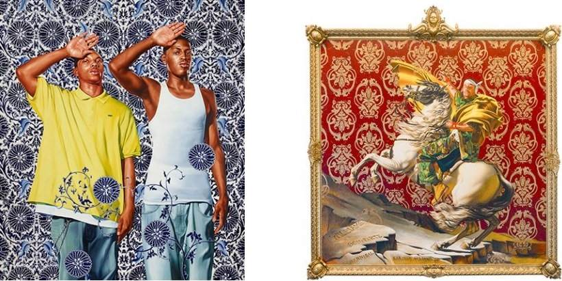 Left: 96 x 84 in. (243.8 x 213.4 cm). Hort Family Collection. © Kehinde Wiley. (Photo: Max Yawney) / Right: 108 x 108 in. (274.3 x 274.3 cm). Collection of Suzi and Andrew B. Cohen. © Kehinde Wiley. (Photo: Sarah DiSantis, Brooklyn Museum)