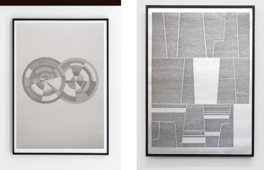 Left: Jose Vera Matos - El sistema de los objectos, 2014, hand transcription of J. Baudrillard's book, 100 x 70cm / Right: Jose Vera Matos - Ensayos de interpretacion de la realidad Peruana - Jose Carlos Mariategui, 100 x 70cm, 2014