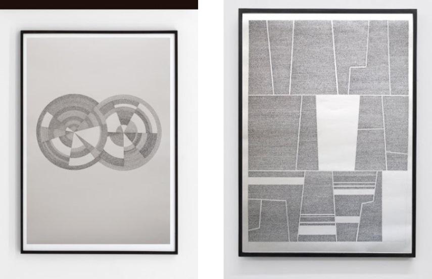 Left: Jose Vera Matos - El sistema de los objectos, 2014, hand transcription of J. Baudrillard's book, 100 x 70cm / Right: Jose Vera Matos - Ensayos de interpretacion de la realidad Peruana - Jose Carlos Mariategui, 100 x 70cm, 2014